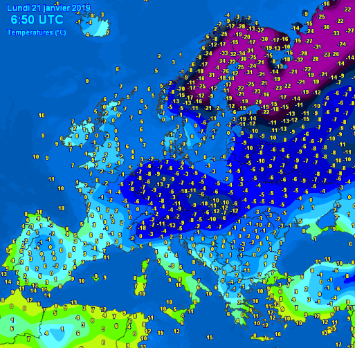 Europe minimum temperatures 21/01/2019