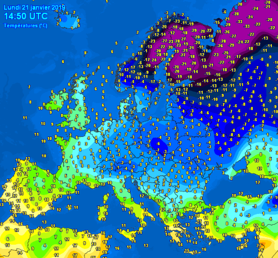 Europe maximum temperatures 21/01/2019