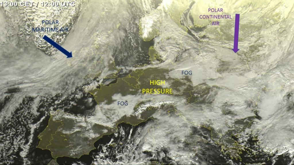 Satellite imagery of Europe 21/01/2019