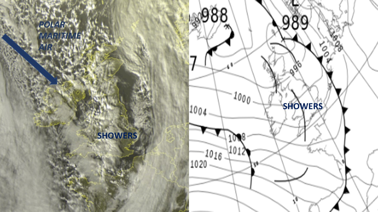 Satellite imagery and synoptic chart UK 22/01/2019