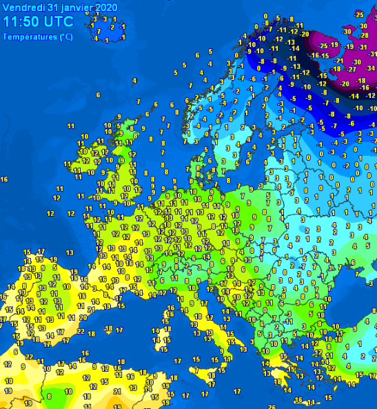 Temperature observed in Europe at 12UTC 31/01/2020